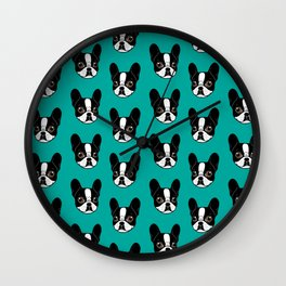 Double Hooded Pied French Bulldog Puppy Wall Clock
