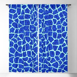 Blue Glitter Giraffe Print Blackout Curtain