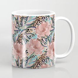 Peonies on the skin of a leopard. Coffee Mug