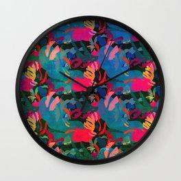 Papercut Floral Dark Wall Clock