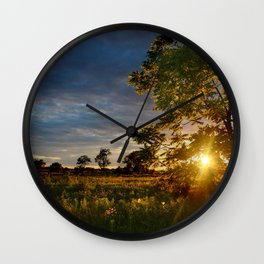 Golden Hour on the Prairie Wall Clock