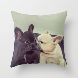 Frenchie kiss Throw Pillow