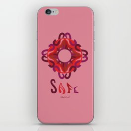 "SAFE Mandala with ""SAFE"" - Salmon Red iPhone Skin"