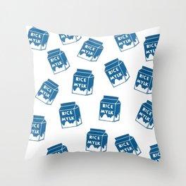 for the love of rice mylk! plant based vegan illustration Throw Pillow