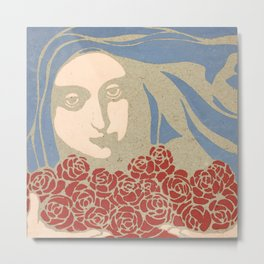 "Koloman (Kolo) Moser ""Woman's Head with Roses"" Metal Print"