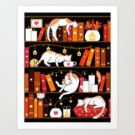Library cats - cherry red Art Print