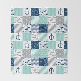 Nautical anchors sharks whales quilt cheater quilt nursery pattern art Throw Blanket