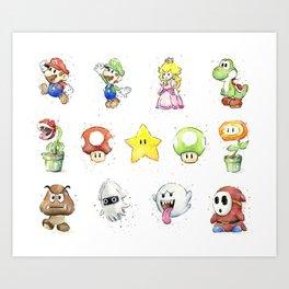 Mario Characters Watercolor Geek Gaming Videogame Art Print