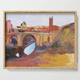 Toledo, Impressionist landscape, Spanish town, bridge Serving Tray