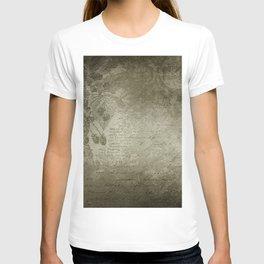 Antique Floral Vintage Grunge Grey T-shirt