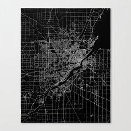 Toledo map ohio Canvas Print