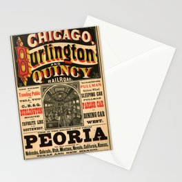Classic Burlington and Quincy Railroad Stationery Cards
