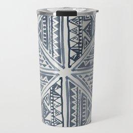 Simply Tribal Tile in Indigo Blue on Lunar Gray Travel Mug