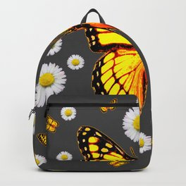 YELLOW MONARCH BUTTERFLIES WHITE DAISIES ON GREY Backpack