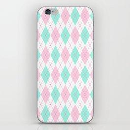 White Pink Green Pastel Argyle Pattern iPhone Skin