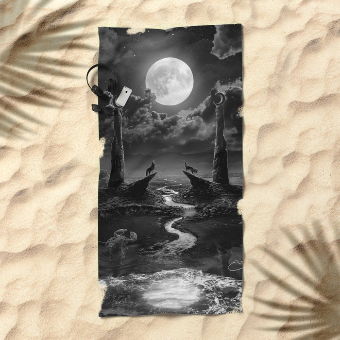 XVIII. The Moon Tarot Card Illustration Beach Towel