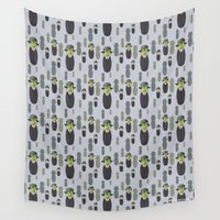magritte Wall Tapestries featuring Kokeshi Magritte pattern by Pendientera