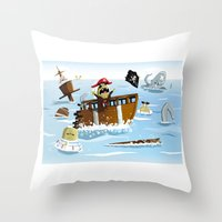 pirates Throw Pillows featuring Pirates by modernagestudio