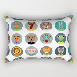 Set of animals faces circle icons set in Trendy Flat Style. zoo Rectangular Pillow