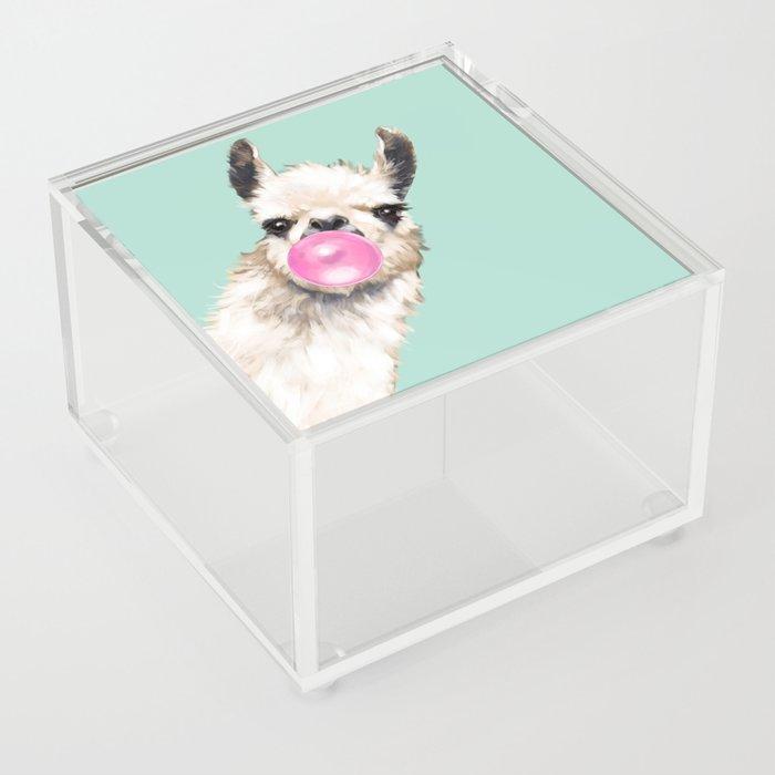 Bubble Gum Sneaky Llama in Green Acrylic Box