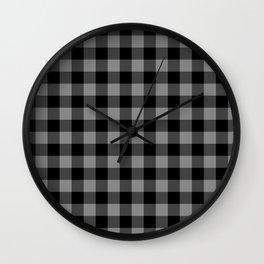 Gray and Black Lumberjack Buffalo Plaid Fabric Wall Clock