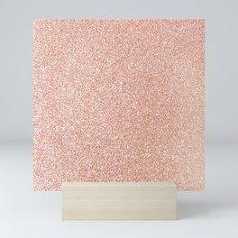 Abstract modern white rose gold glam glitter Mini Art Print