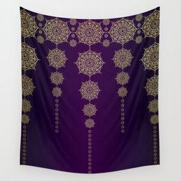 Violet & Gold Mandala Medallions Wall Tapestry