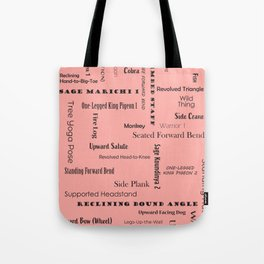 Yoga Positions - Style 1 (Black on Coral) Tote Bag