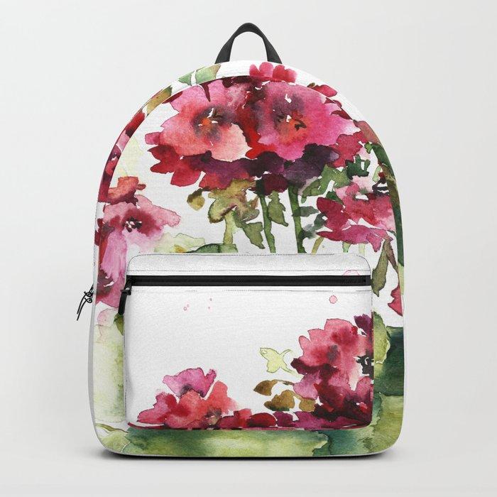 Watercolor geranium flowers Backpack