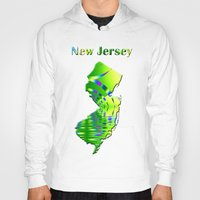 new jersey Hoodies featuring New Jersey Map by Roger Wedegis