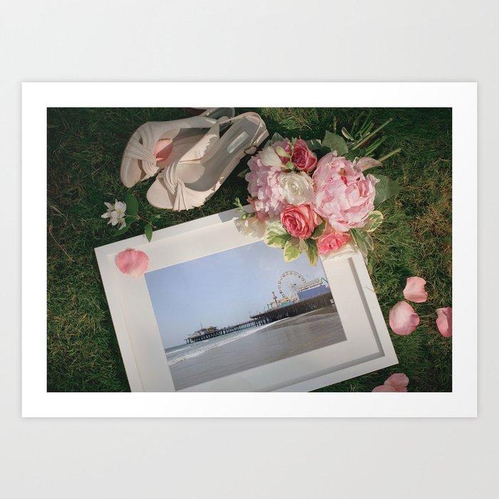 Romantic Santa Monica Pier framed Photo for Wedding or Valentine's Day Art Print
