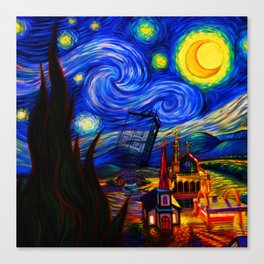tardis starry night Canvas Print
