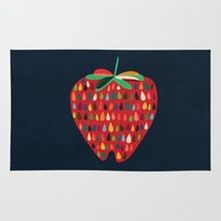strawberry Area & Throw Rugs featuring Strawberry by Picomodi