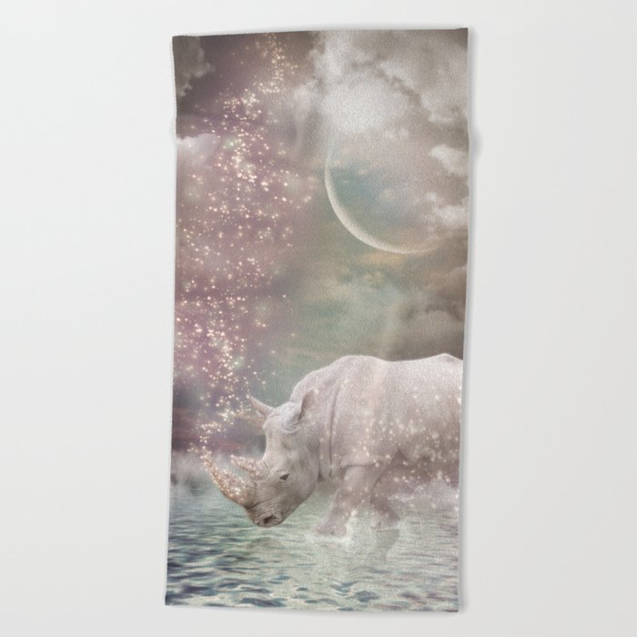The Most Beautiful Have Known Defeat, Suffering, Struggle... (Rhino Dreams)  Beach Towel