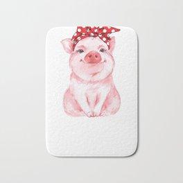 Red Bandana Pig Bath Mat