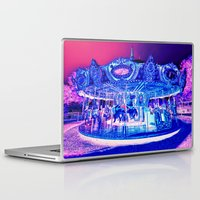 carousel Laptop & iPad Skins featuring Carousel Merry-G0-Round Pink Purple by WhimsyRomance&Fun