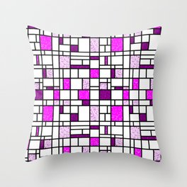 Modern Art Pink and Purple Speckled Grid Pattern Throw Pillow