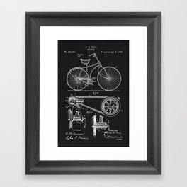 Vintage Bicycle patent illustration 1890 Framed Art Print
