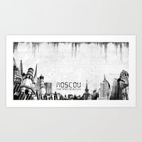 moscow Art Prints featuring Moscow by Yan-k
