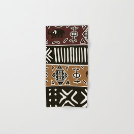 African mud cloth with elephants Hand & Bath Towel