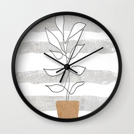 Scandi Plant Wall Clock