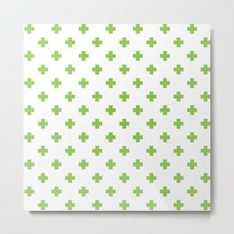Pea Green Swiss Cross Pattern Metal Print