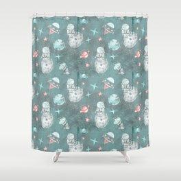 Moon landing blue Shower Curtain