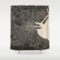 dublin Shower Curtains featuring dublin map ink lines by NJ-Illustrations