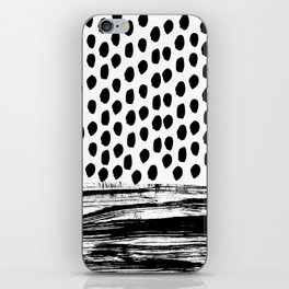 Zoe - Black and white dots, stripes, painted, painterly, hand-drawn, bw, monochrome trendy design iPhone Skin
