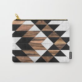 Urban Tribal Pattern No.9 - Aztec - Concrete and Wood Carry-All Pouch