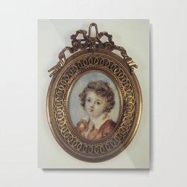 Jean-Honore Fragonard - Portrait en buste d'un jeune garçon Metal Print