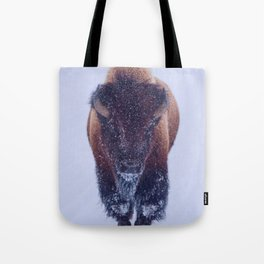 Bison Moving Through the Snow in Yellowstone National Park #Socety6 #bison Tote Bag
