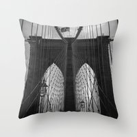 brooklyn bridge Throw Pillows featuring Brooklyn Bridge by Nicklas Gustafsson