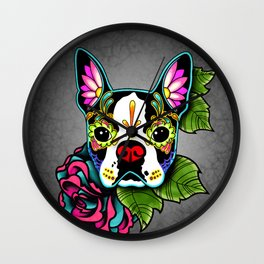 Boston Terrier in Black - Day of the Dead Sugar Skull Dog Wall Clock